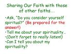 sharing our faith with those of other faiths27