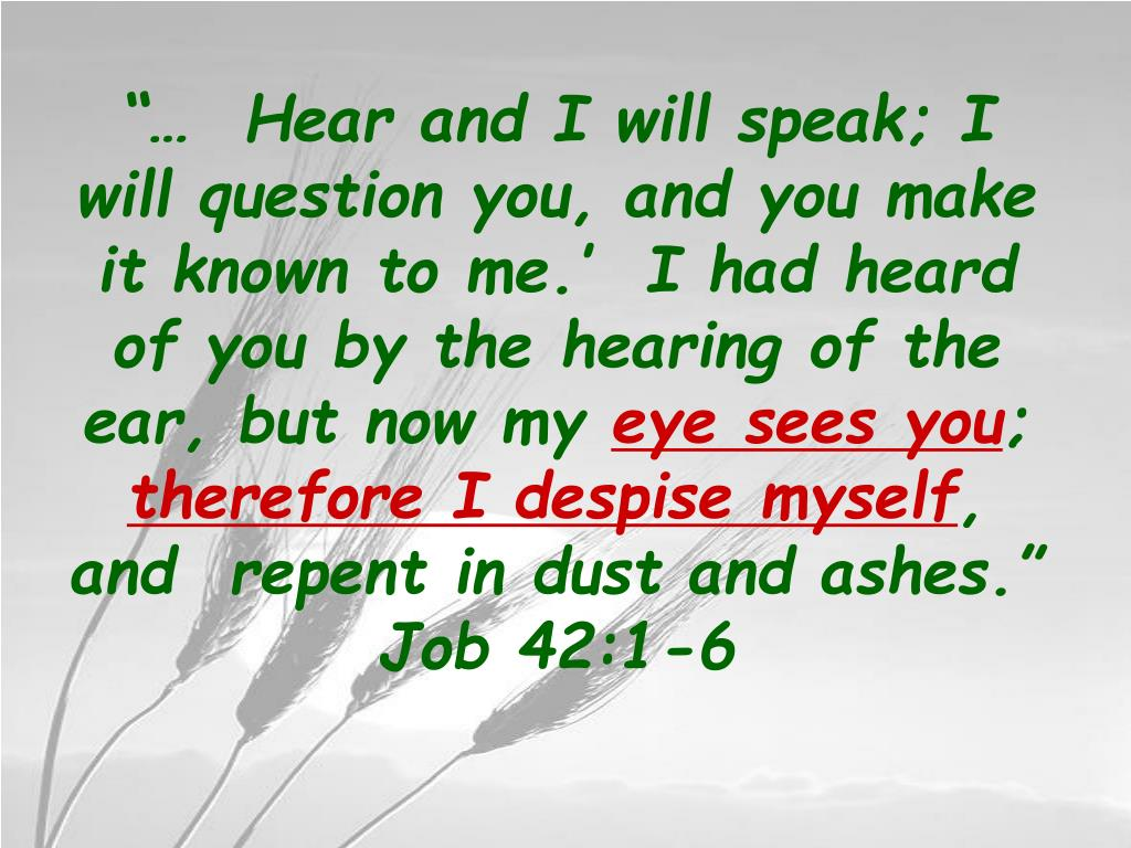 """""""…  Hear and I will speak; I will question you, and you make it known to me.'  I had heard of you by the hearing of the ear, but now my"""