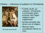 history influence of judaism christianity