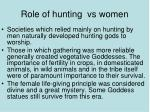 role of hunting vs women