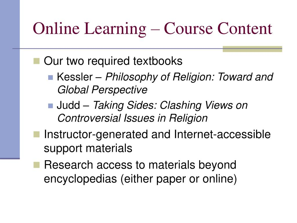 Online Learning – Course Content