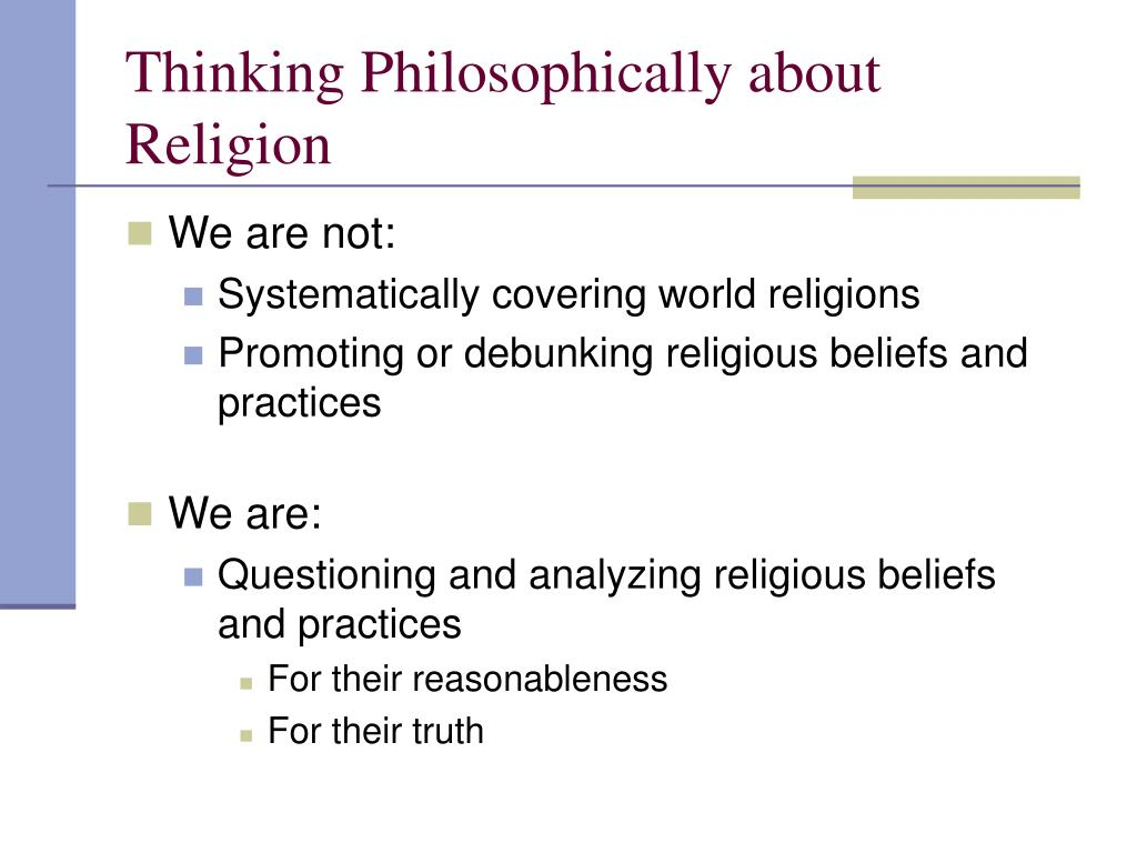Thinking Philosophically about Religion