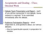 assignments and grading class oriented work