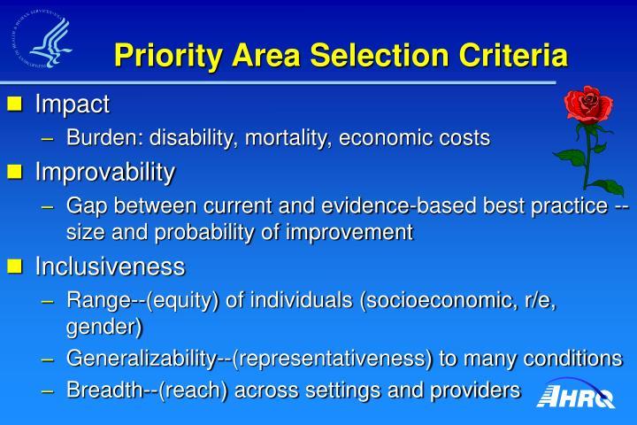 Priority Area Selection Criteria