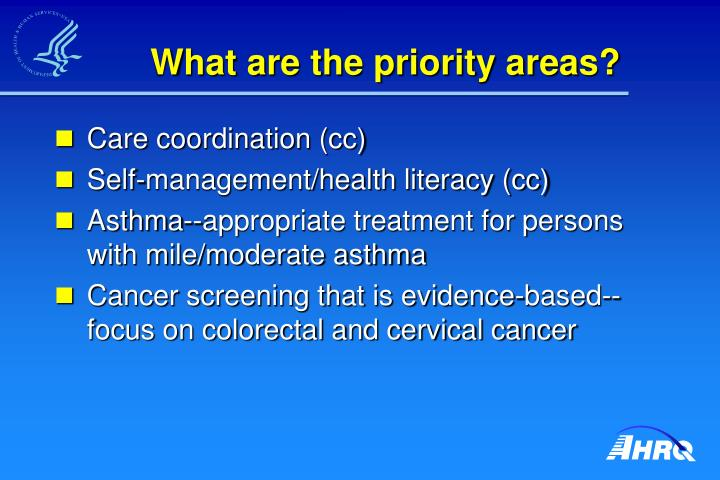 What are the priority areas?