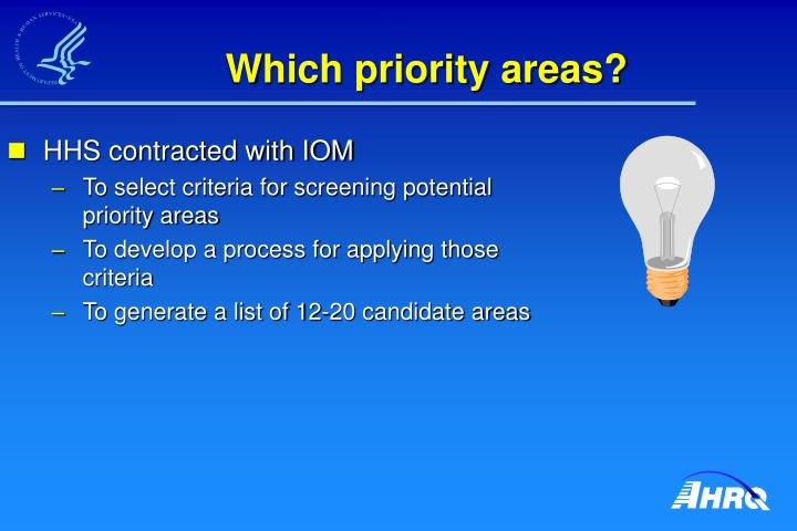 Which priority areas?