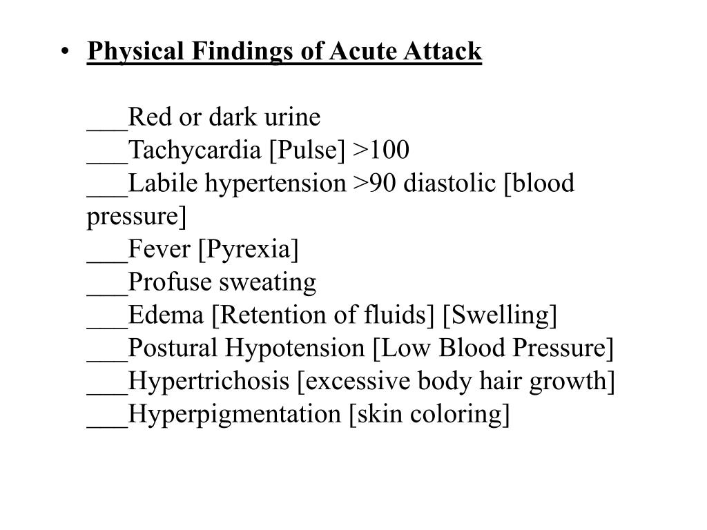 Physical Findings of Acute Attack