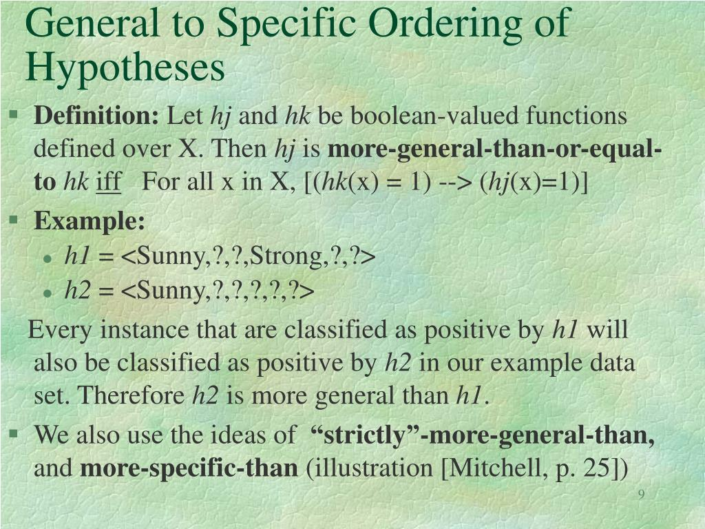 General to Specific Ordering of Hypotheses