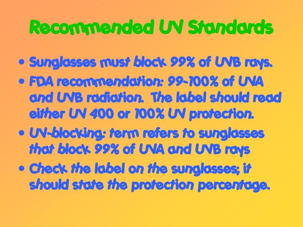 Recommended UV Standards