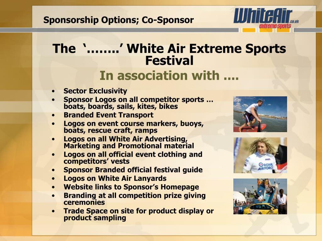 Sponsorship Options; Co-Sponsor