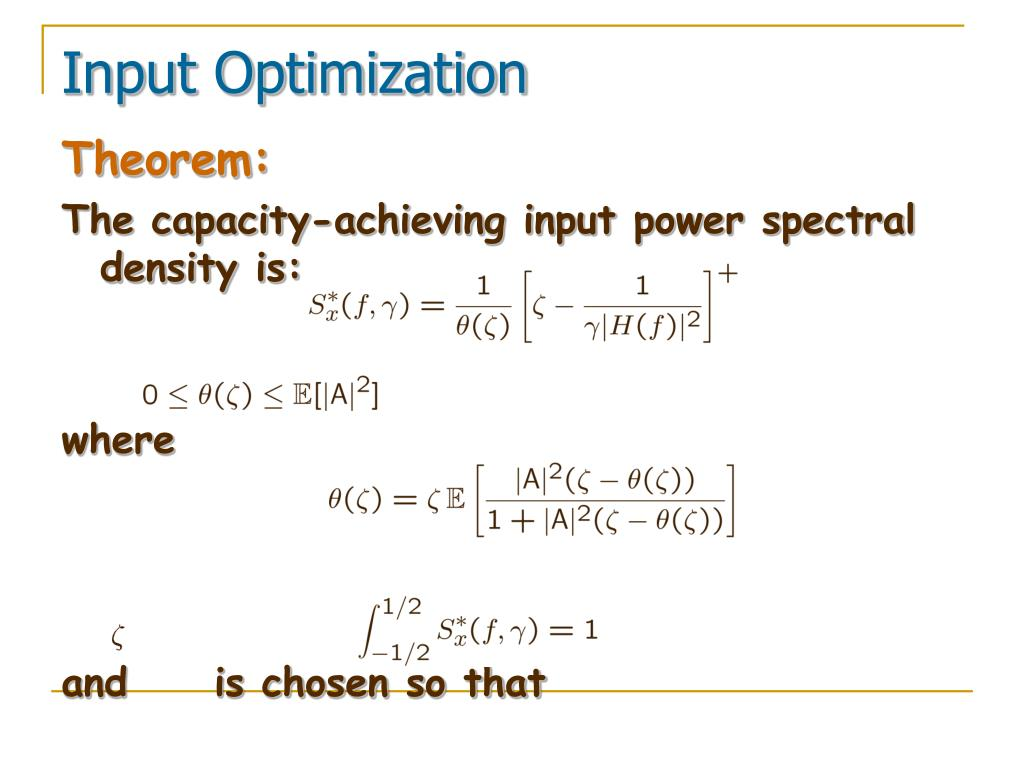 Input Optimization