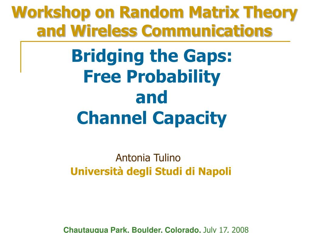 Workshop on Random Matrix Theory and Wireless Communications