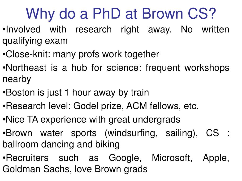 why do a phd at brown cs