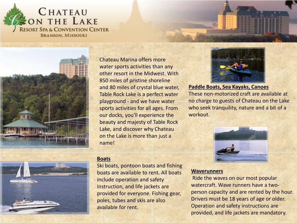 Chateau Marina offers more water sports activities than any other resort in the Midwest. With 850 miles of pristine shoreline and 80 miles of crystal blue water, Table Rock Lake is a perfect water playground - and we have water sports activities for all ages. From our docks, you'll experience the beauty and majesty of Table Rock Lake, and discover why Chateau on the Lake is more than just a name!