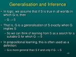 generalisation and inference