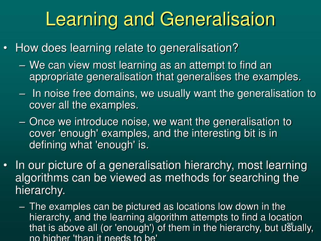 Learning and Generalisaion