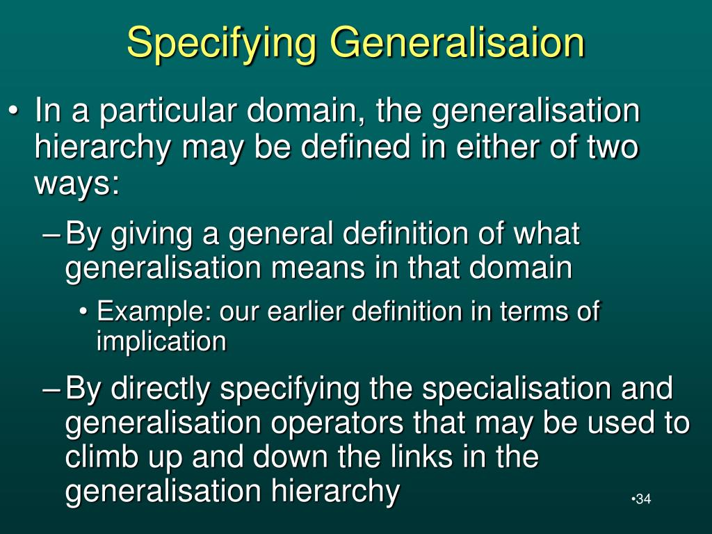Specifying Generalisaion