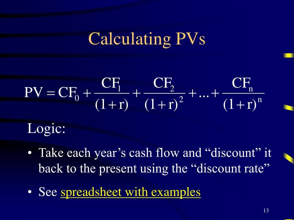 Calculating PVs