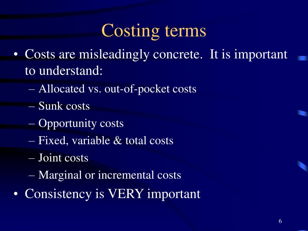 Costing terms