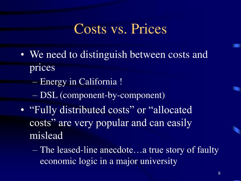 Costs vs. Prices