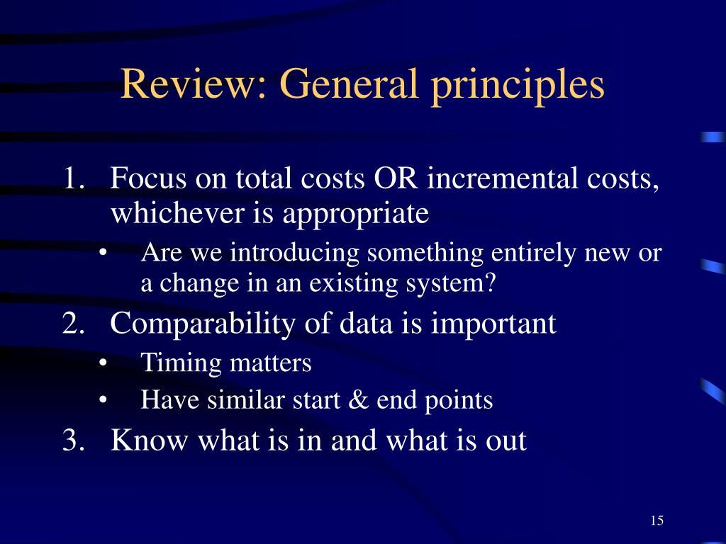 Review: General principles