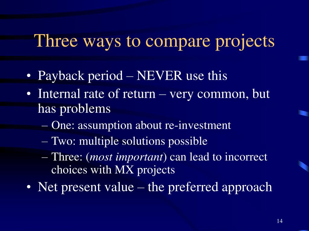 Three ways to compare projects