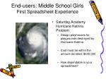 end users middle school girls first spreadsheet experience
