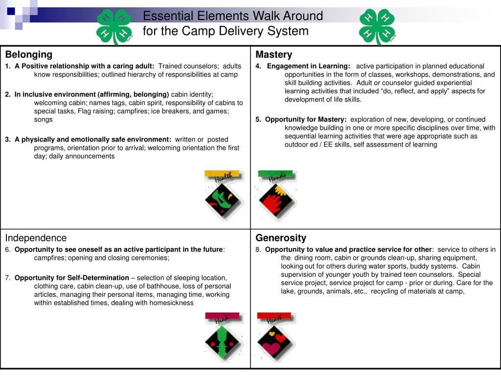 essential elements walk around for the camp delivery system
