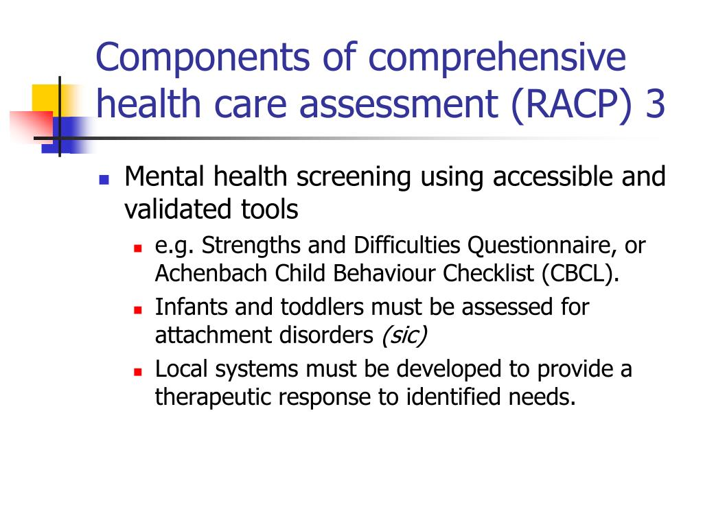 Components of comprehensive health care assessment (RACP) 3