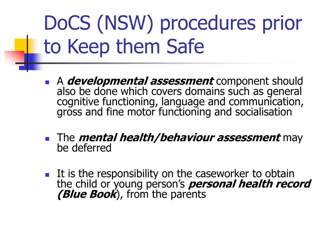 DoCS (NSW) procedures prior to Keep them Safe