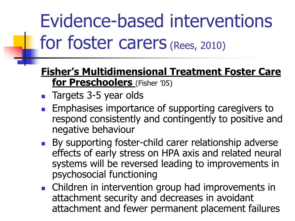 Evidence-based interventions for foster carers