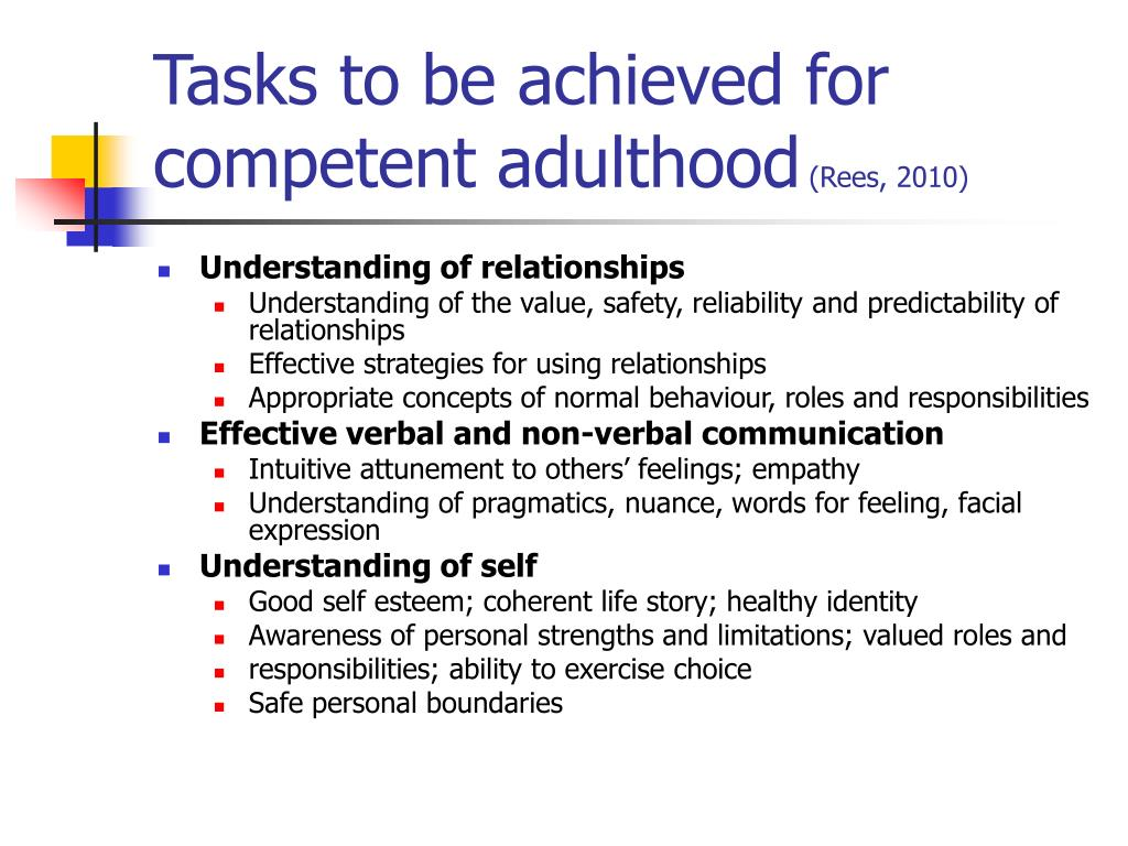 Tasks to be achieved for competent adulthood