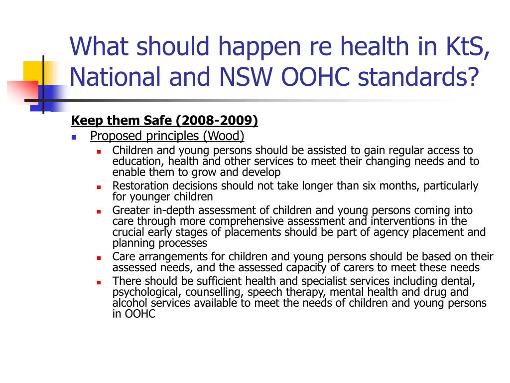 What should happen re health in KtS, National and NSW OOHC standards?