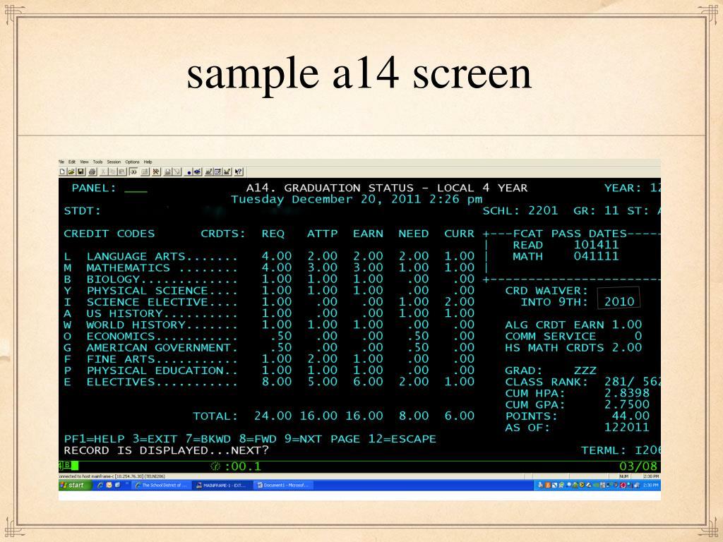 sample a14 screen