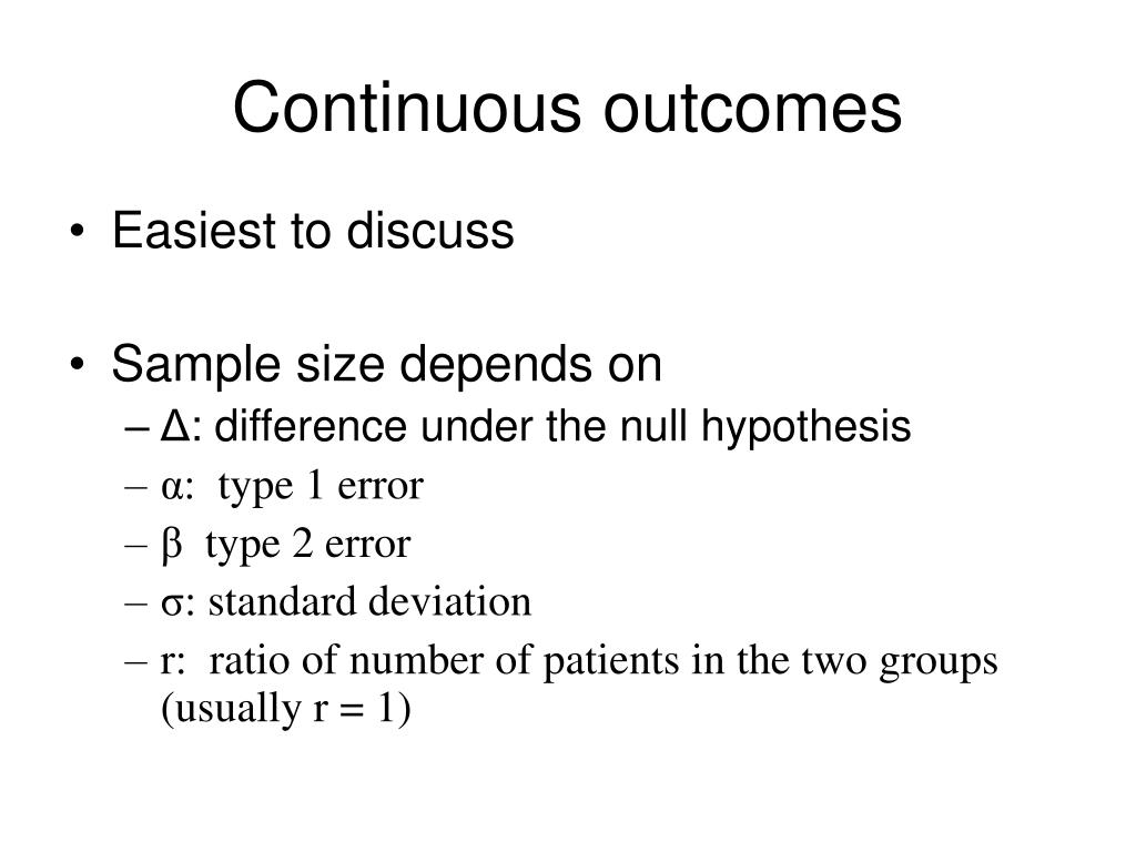 Continuous outcomes