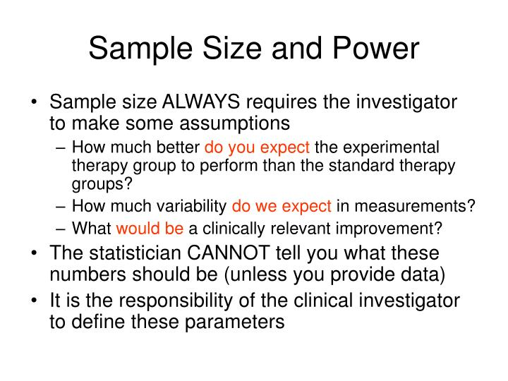 Sample size and power3