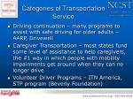 categories of transportation service