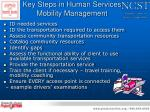 key steps in human services mobility management