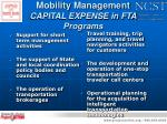 mobility management capital expense in fta programs