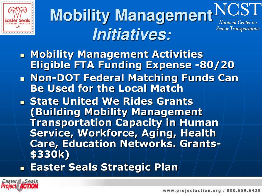 Mobility Management Activities Eligible FTA Funding Expense -80/20