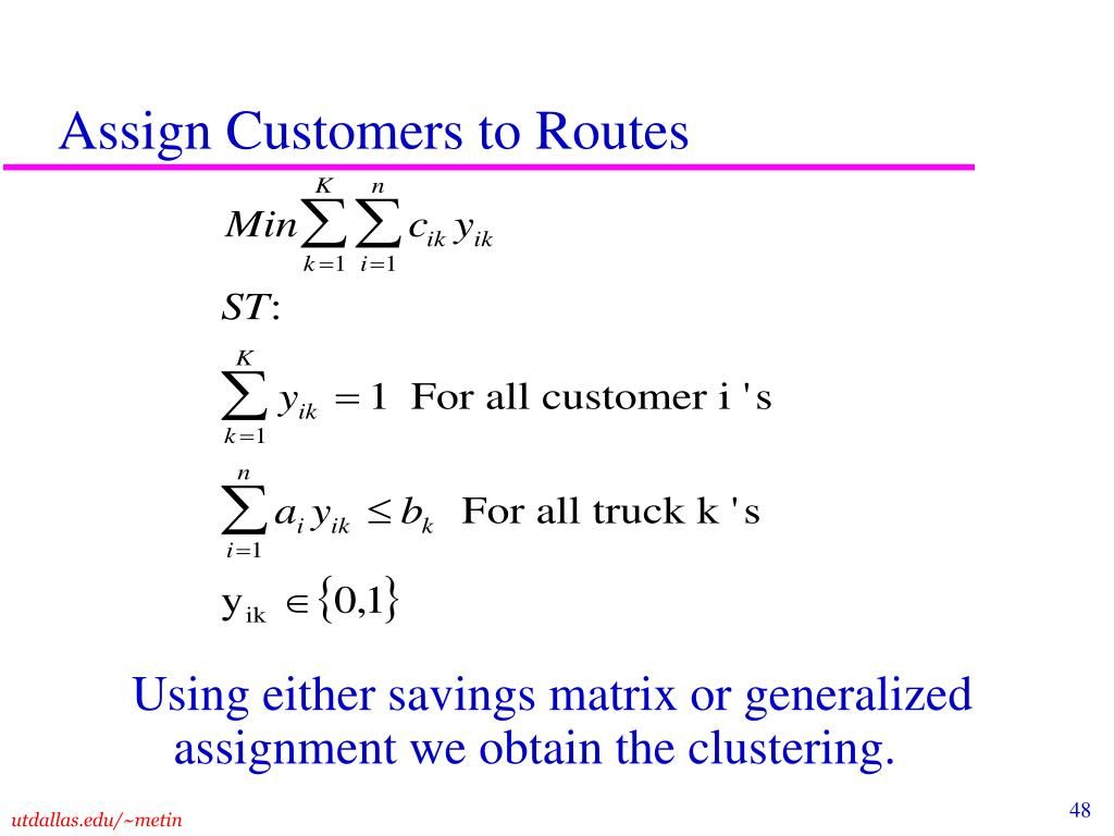 Assign Customers to Routes