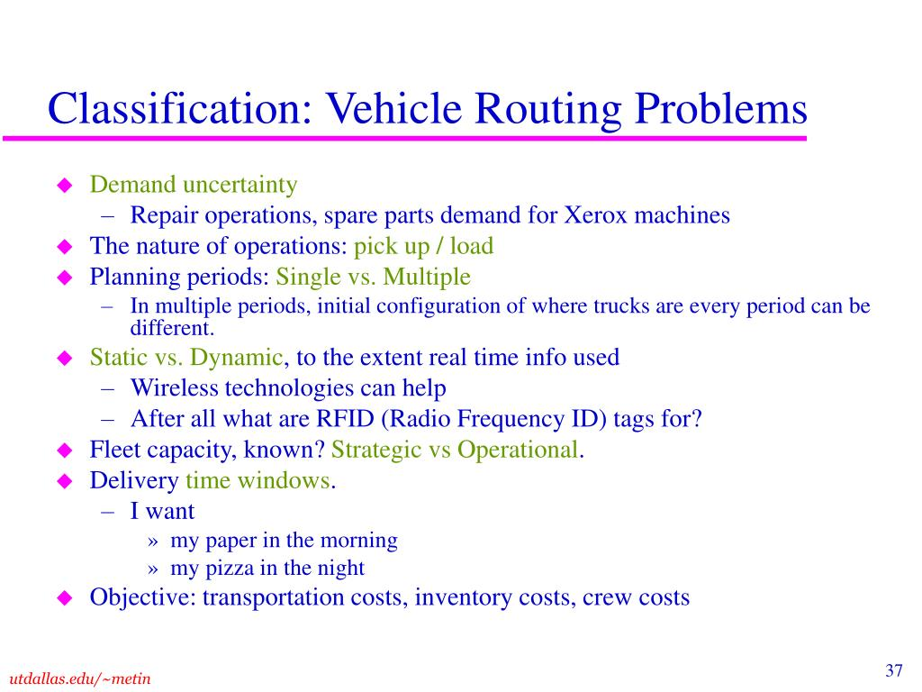 Classification: Vehicle Routing Problems