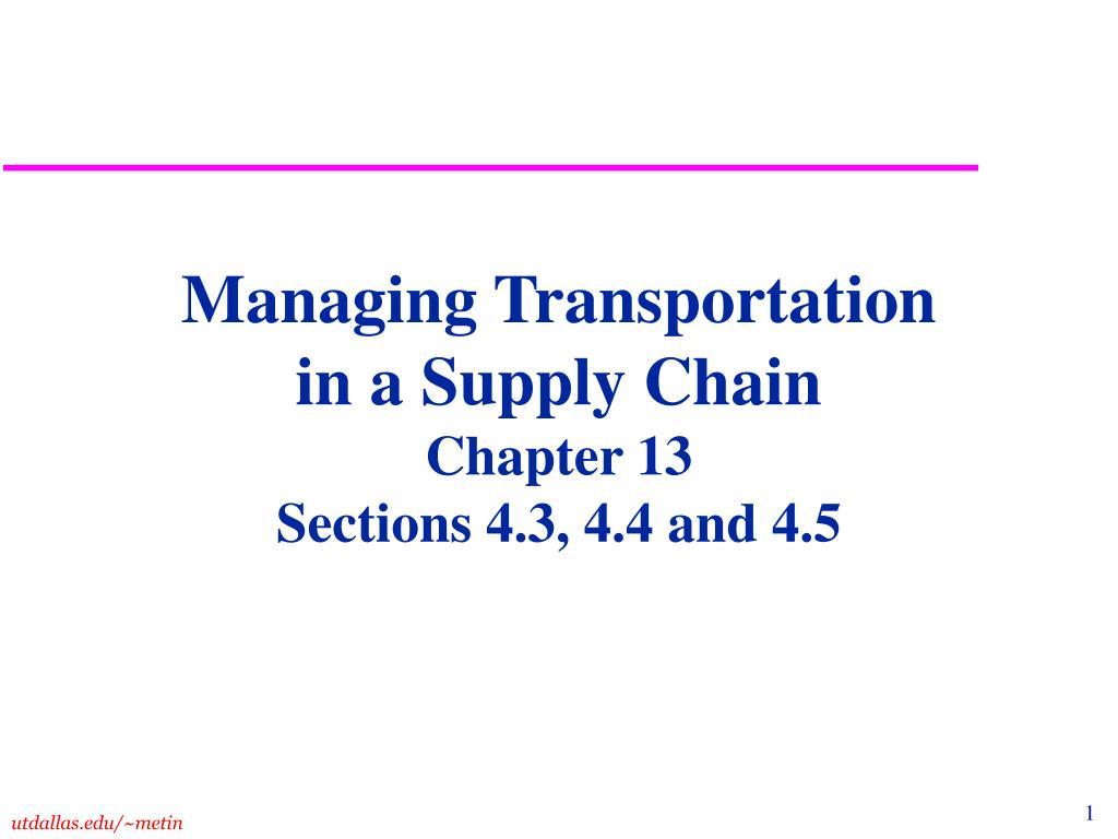 Managing Transportation