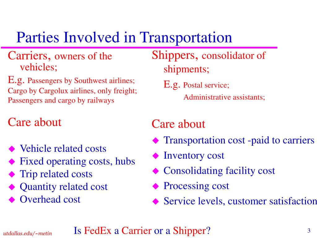Parties Involved in Transportation