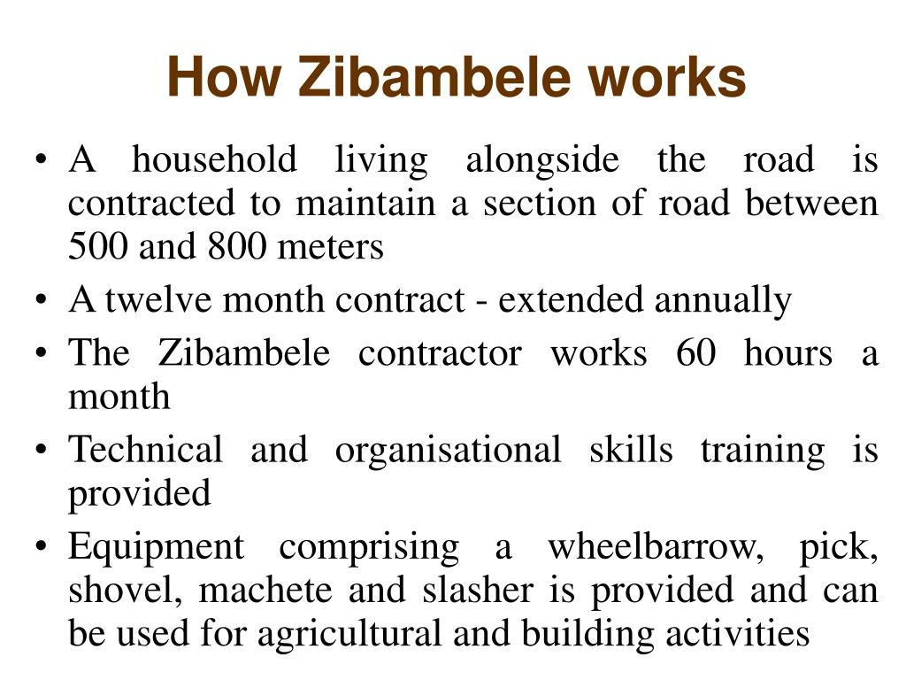 How Zibambele works