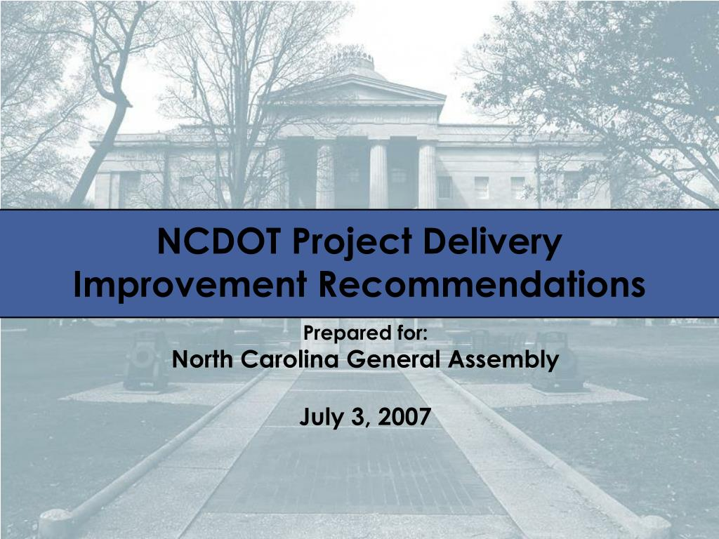 ncdot project delivery improvement recommendations l.