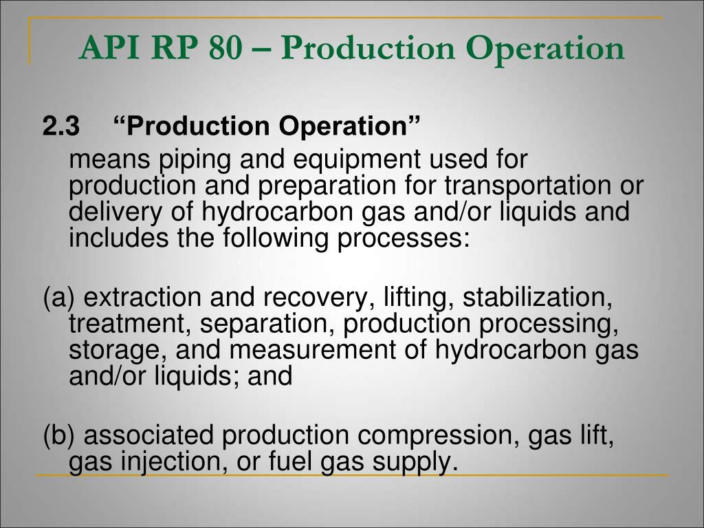 API RP 80 – Production Operation