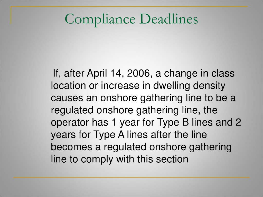 Compliance Deadlines