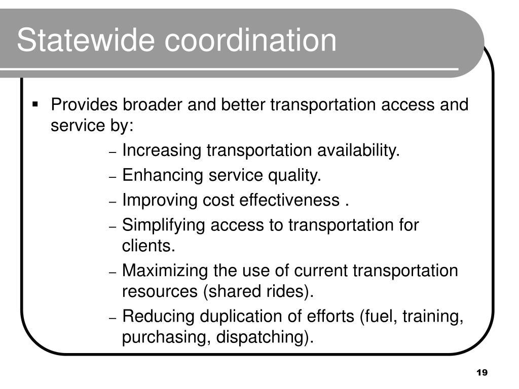 Statewide coordination