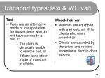 transport types taxi wc van